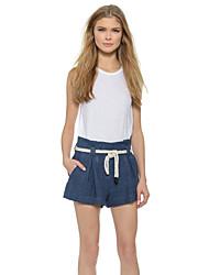 Pantalon Aux femmes Shorts Décontracté Coton/Toile de jean Micro-élastique