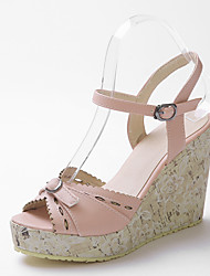 Women's Shoes Leather Wedge Heel Gladiator Sandals Office & Career/Dress/Casual Blue/Pink/Beige