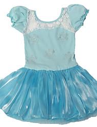 Kid Girl's Frozen Anna/Elsa Short Sleeve Ballet Tutu Dress Kid Gymnastics Leotard Performance Lace Ruffle Dancewear