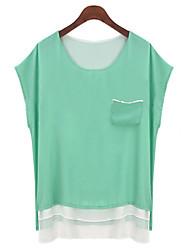 Milan vrouwen casual round korte mouw topjes& blouses (chiffon)