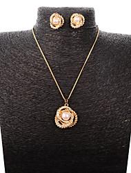 Gold Women's Wild New Fashion Diamond Crystal Necklace Earring Set