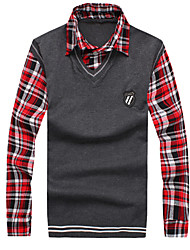 Men's Fake Two Solid Color Knit Shirts