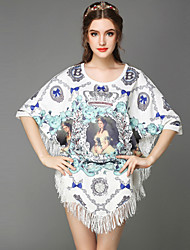 Summer Women Vintage Ethnic Bead Court Girl Print Tassels Loose Plus Sizes Bat Sleeve Party Casual Dress