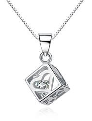 plaqué jazlyn® femme platine cube charme de zircone cubique collier pendentif en argent sterling 925 de rubik de coeur pour le cadeau