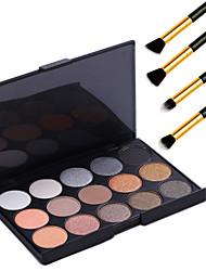 15 цветов профессиональный макияж теплый ню тени для век жемчужина свет мерцание палитра косметических + 4шт карандаш макияж кисти