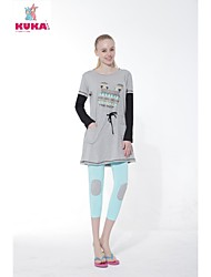 KUKABCN Women's Cotton Printing Cartoon Bunny Long Sleeve   T-Shirt Grey Dress Pajama Home Wear