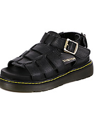 Women's Shoes Leather Chunky Heel Platform Sandals Casual Black