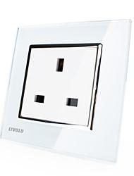 Livolo UK Standard Socket, 80mm*80mm, 200-250V, Tempered Glass Panel, 13A Outlet, White/Black Color, VL-C7C1UK-11/12