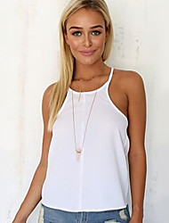 Women's Going out Sexy Summer Tanks,Solid Strap Sleeveless White Thin