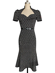 Women's Vintage/Casual Micro Elastic Short Sleeve Midi Dress (Cotton)