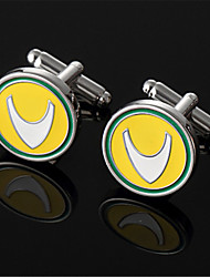 Men's Aquaman Comics Round Yellow Green Cufflinks