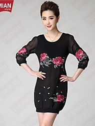 YUEMIAN™Women's Peony Flower Embroidery Middle Sleeve Large Code Dress