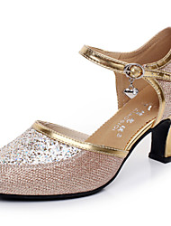 Modern Women's Dance Shoes Sandals Paillette Cuban Heel Gold/Silver