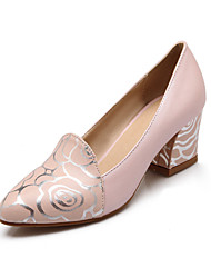 Women's Shoes Chunky Heel Heels/Round Toe Pumps/Heels Office & Career/Party & Evening/Dress/Casual Blue/Pink/White