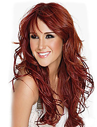 European and American Fashion Wine Red Natural Curly Wig