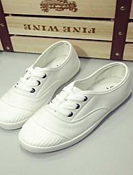 Scarpe Donna - Sneakers alla moda - Casual - Punta arrotondata - Piatto - Tessuto - Nero / Bianco