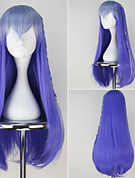 Happy Tree Friends Personification Petunia Girl's Long Straight Synthetic Orange Blue Anime Cosplay Wig with Braid