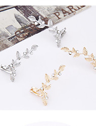 Clip Earrings Alloy Rhinestone Simulated Diamond Gold Silver Jewelry 2pcs