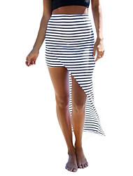 Women's Striped White Skirts , Sexy/Bodycon/Beach/Casual Asymmetrical