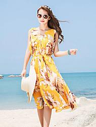 In the Elegant Printing Long Chiffon Sleeveless V-neck Dress Yellow
