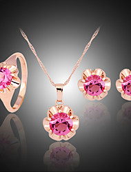 Lucky Doll Women's All Matching Crystal Rose Gold Plated Zirconia Flower Necklace & Earrings & Ring Jewelry Sets