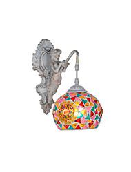 BOXOMIYA® Mediterranean Wall Glass Mermaid American Country European Garden BedroomBedside Lamp