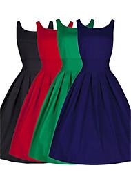 Nikki  Women's Vintage/Casual/Work Round Sleeveless Dresses (Polyester)