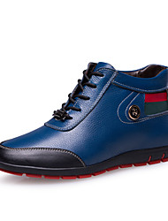 Men's Shoes Casual Leather Boots Black/Blue