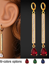 TopGold New Luxury Cubic Zirconia Long Drop Earrings 18K Gold Platinum Plated Jewelry for Girl Women High Quality