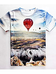 Men's High Quality Creative Natural Funny Realistic Original Summer Breathable 3D Style T-Shirt——Hot Air Balloon