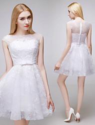 A-line Short/Mini Wedding Dress - Bateau Lace