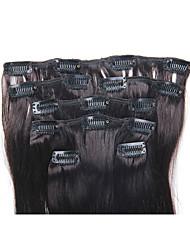 15 pulgadas 7pcs / clip de 70g en extensiones de cabello humano brasileño recto sedoso # 1b negro natural
