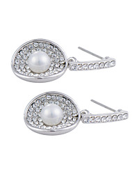 Graceful Platinum Plated Seashell Shape Dangle Earrings with Shell Pearl