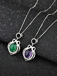 925 Silver Chalcedony Agate Pendant Necklace Sterling Silver Folk Style Korean American Jewelry