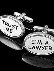 Men's Trust Me I'm A Lawyer Enamel Oval Wht Silver Wedding Cufflinks