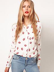 Langermet Skjorte Skjortekrage Nylon Kvinner