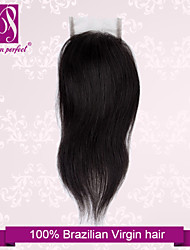 """10""""-20"""" Brazilian Hair Lace Closure Silky Straight Size 4""""x3"""" Inch Human Hair Lace Top Closures"""