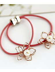 Han Edition Five-Petaled Flowers Pearl Elastic Knitting Three-Dimensional Elastic Rope