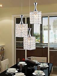 3 Lights Metal Frame K9 Crystal Chandelier Restaurant Droplight Send E27 Bulb