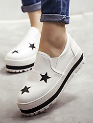 Women's Shoes Platform Round Toe Loafers Casual Black/White
