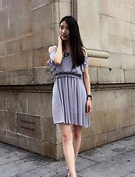 Women's Casual/Daily Vintage Loose Dress,Solid Off Shoulder Above Knee Short Sleeve Summer