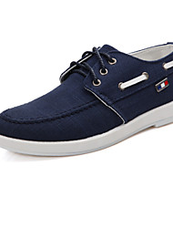 Men's Spring Summer Fall Comfort Canvas Office & Career Casual Athletic Flat Heel Lace-up Blue White