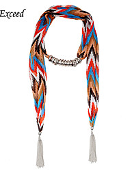 D Exceed Lady's 2015 New Chiffon Alloy Ring Cham Ornament Scarf Arrow Long Scarf with Tassels