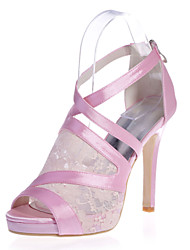 Women's Shoes Satin Stiletto Heel Open Toe Sandals Wedding/Party & Evening Black/Pink/Ivory/White