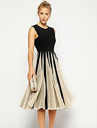 GIVENCHY&ONE Women's Contrast Color Mesh Splicing Chiffon A-line Midi Dress