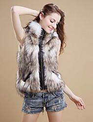 Women's Elegant Zipper Faux Fur Winter Vest Warm Coat