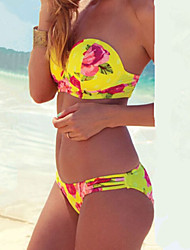 Women's Push-up Floral/Bandage Bandeau Sexy Sell Well  Bikinis
