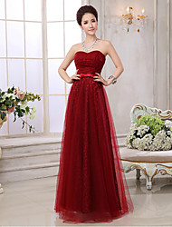Formal Evening Dress - Burgundy Plus Sizes A-line Sweetheart Floor-length Lace / Tulle