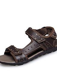 Zapatos de Hombre Exterior Semicuero Sandalias Marrón/Caqui