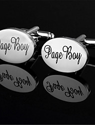 Men's Page Boy Groom Bride Oval Black Wedding Shirt Cufflinks